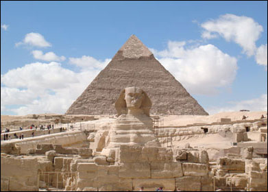 The Great Sphinx and the Khafra Pyramid, Giza Plateau