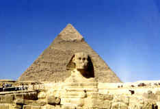Great Sphinx and middle pyramid