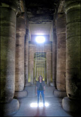 Dramatic natural lighting at Seti 1 Temple, one of our travelers, Abydos