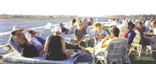 Relaxing on the Nile, Egypt. Ruth Shilling and group, Feb 2000.