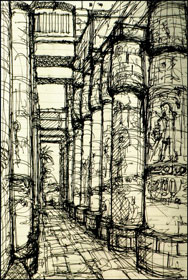 Karnak Hypostyle Hall, sketched by Lloyd Sueda, Hawaiian architect and one of our travelers