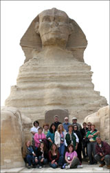 Tour group between the paws of the Great Sphinx, Giza