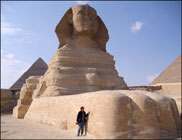 Touching the Great Sphinx of Giza, Egypt. Photo: Ruth Shilling.